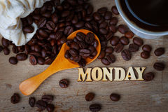 Coffee Bean With A Cup of Coffee and Wood Alphabets Royalty Free Stock Image