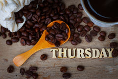 Coffee Bean With A Cup of Coffee and Wood Alphabets Royalty Free Stock Photo