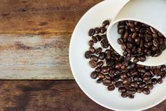 Coffee bean cup on the table royalty free stock photography