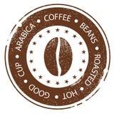 Coffee Bean Design. Vintage Menu Stamp. Hot, Roasted, Good, Cup Distressed Round Label Stock Image