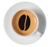Coffee bean drawing art on coffee foam in cup Stock Photos