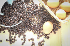 Coffee bean and egg Stock Image
