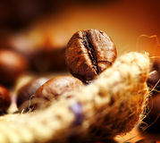 Coffee. Bean on a fabric, macro shot Royalty Free Stock Photo