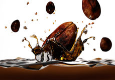 Coffee bean falling into a dark liquid, forming a crown splash. Coffee bean falling into a dark liquid, forming a crown splash, with a few other beans falling Stock Images