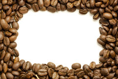 Coffee Bean Frame. A frame of whole coffee beans around a white center Royalty Free Stock Image