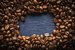 Coffee bean frame on the dark background horizontal Royalty Free Stock Image