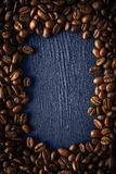 Coffee bean frame on the dark background vertical Stock Photos