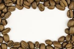 Coffee bean frame over white background stock photos