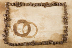 Coffee Bean Frame and Stain Stock Photo