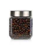 Coffee bean in glass bottle Stock Image