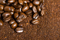Coffee Bean and Grounds Background. Coffee bean and grounds macro background Royalty Free Stock Photography