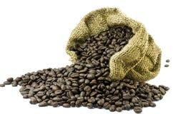 Coffee bean. In gunny bagc  on white background Stock Photo
