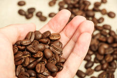 Coffee bean in hand Stock Photo