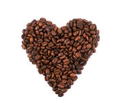 Coffee bean heart. Heart coffee beans on white background Stock Photography