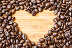 Coffee bean heart shape Royalty Free Stock Photos