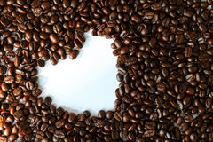 Coffee bean and heart shape Royalty Free Stock Image