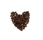 Coffee bean heart shape on white isolated Royalty Free Stock Photography