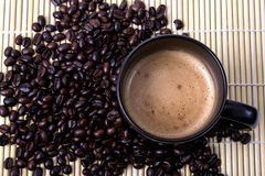Coffe Bean. Coffee bean and hot coffee Royalty Free Stock Photography