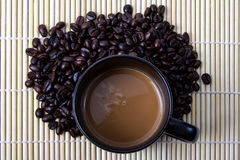 Coffe Bean. Coffee bean and hot coffee Royalty Free Stock Photo