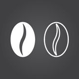 Coffee bean icon. Solid and Outline Versions. White icons on a d. Ark background royalty free illustration