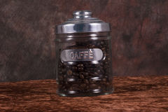 Coffee bean jar. A jar of coffee beans stock image