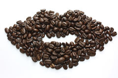 Coffee bean lips Stock Images