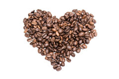 Coffee bean love heart Stock Images