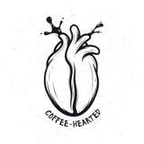 Coffee bean made of human heart. Creative monochrome poster. Coffee-hearted.  Stock Photos