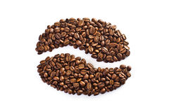 Coffee bean made up of a set of grains Royalty Free Stock Photography