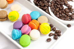 Coffee bean and mini macaroon colorful Royalty Free Stock Images