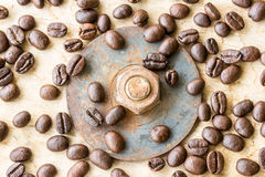 Coffee bean and nuts on grunge wooden Stock Photo
