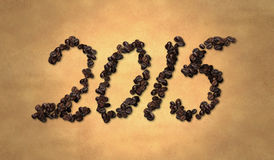 2015 Coffee Bean on Old Paper Royalty Free Stock Images