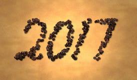 2017 Coffee Bean on Old Paper. Digital art royalty free illustration