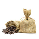 Coffee bean and packaging Stock Images