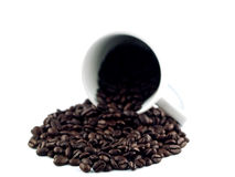 Coffee Bean Puddle 2. A puddle of coffee beans spilling out of a white coffee cup isolated on a white background Stock Photo