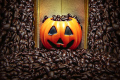 Coffee bean in pumpkin on retro book and coffee bean background. Coffee bean in pumpkin on retro book and brown coffee bean background royalty free stock photo