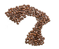 Coffee bean question mark Royalty Free Stock Images