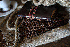 Coffee bean rope book Royalty Free Stock Images