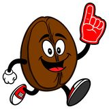 Coffee Bean Running with Foam Finger Royalty Free Stock Photos