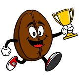 Coffee Bean Running with Trophy Royalty Free Stock Photos