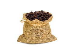 Coffee bean in sack bag on white background Royalty Free Stock Photo