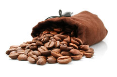 Coffee bean in  sack isolated on white Royalty Free Stock Image