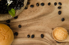 Coffee bean in sack Stock Images