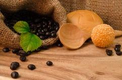 Coffee bean in sack Stock Photo