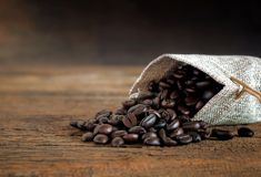 Coffee bean in sackcloth bag on wooden table. Royalty Free Stock Photo