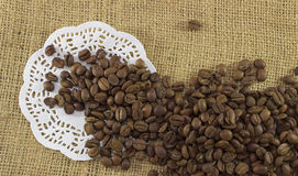 Coffee bean on sacking Royalty Free Stock Photography