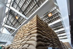 Coffee bean sacks in go down Stock Image