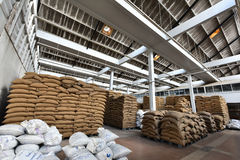 Coffee bean sacks in go down Stock Photo