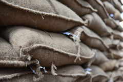Coffee bean sacks in go down Royalty Free Stock Photography
