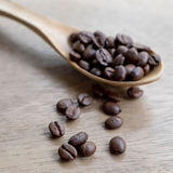 Coffee Bean scoop by wooden spoon Royalty Free Stock Images